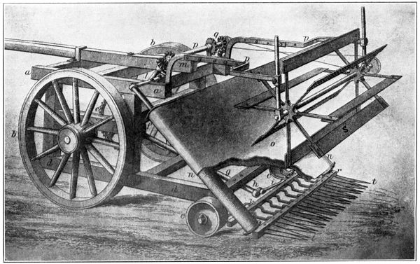 Mechanical reaper. Invented by Cyrus McCormick in 1831. It cut stalks of wheat much faster because it had more blades. It reduced labor.