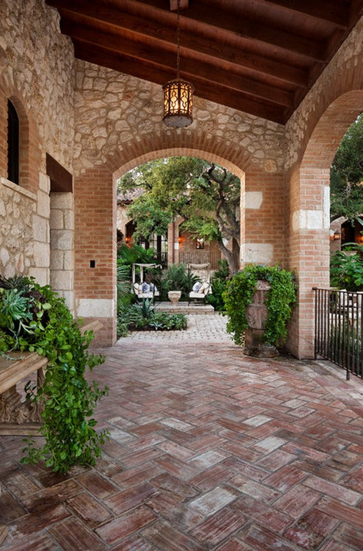 Mediterranean Chevron Brick Patio Floor Exterior Design New House Planning Ideas