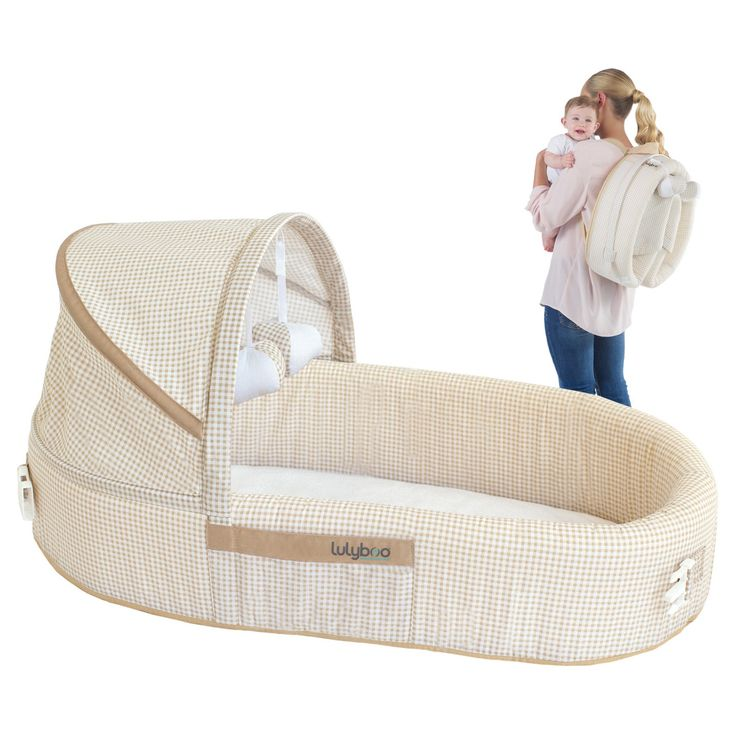The Baby Lounge To-Go Travel Bed from Lulyboo offers a safe, cozy and familiar place for babies to sleep and play. Replacing the traditional bassinet, crib, playpen and can even be used as a cosleeper. With one easy motion, the lounge can be folded into a convenient backpack for storage and travel.