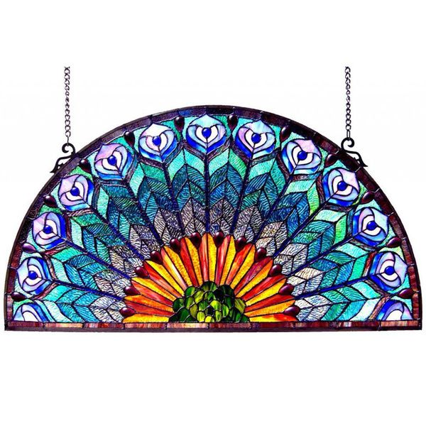 Peacock Design Half Round Stained Glass Window Panel - Overstock Shopping - Great Deals on Stained Glass Panels