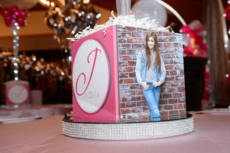 Bling Photo Cube Pink & Silver Themed Bat Mitzvah Photo Cube Centerpiece with Custom Logo