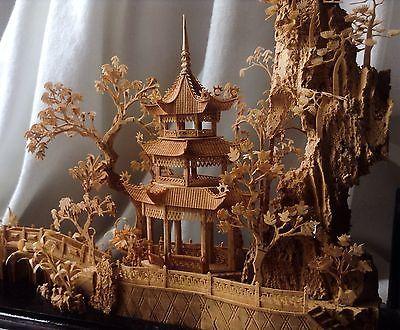 Chinese Vintage Handmade Wood Carved Miniature Palace Mountain Pine Tree