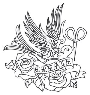 """""""Flight of Imagination""""  Detailed tattoo styling makes up an inspiring crafty design. Downloads as a PDF. Use pattern transfer paper to trace design for hand-stitching.  -  UTH6388 (Hand Embroidery)  00452995-050713-0940-8"""