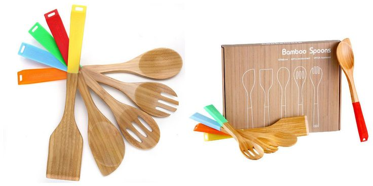 Bamboo Kitchen Cooking Utensils Set 5 Pc Spoon Spatula Silicone Handles Durable  #KitchenUtensilCookingSets