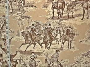 Equestrian horse fabric Victorian brown toile Double wide from Brick House Fabric: Novelty Fabric