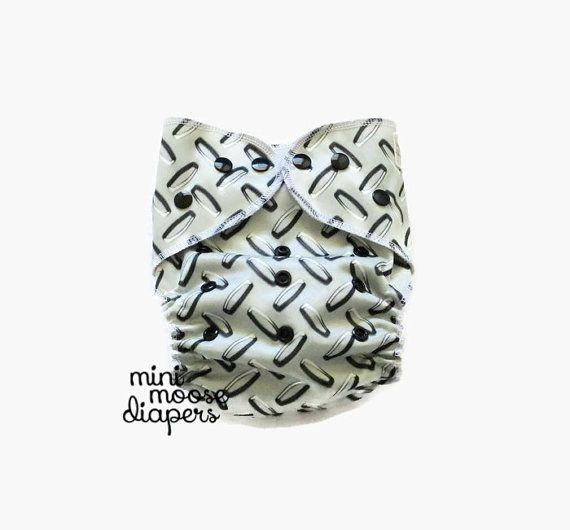 Need to get Daddy on board with cloth diapering? Just show him this diamond plate diaper and hell be first to change the baby!  This one size,