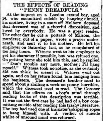 PENNY DREADFULS, JUVENILE CRIME, AND LATE-VICTORIAN MORAL PANIC, via Mimi Matthews. Dundee Courier, June 17, 1896.