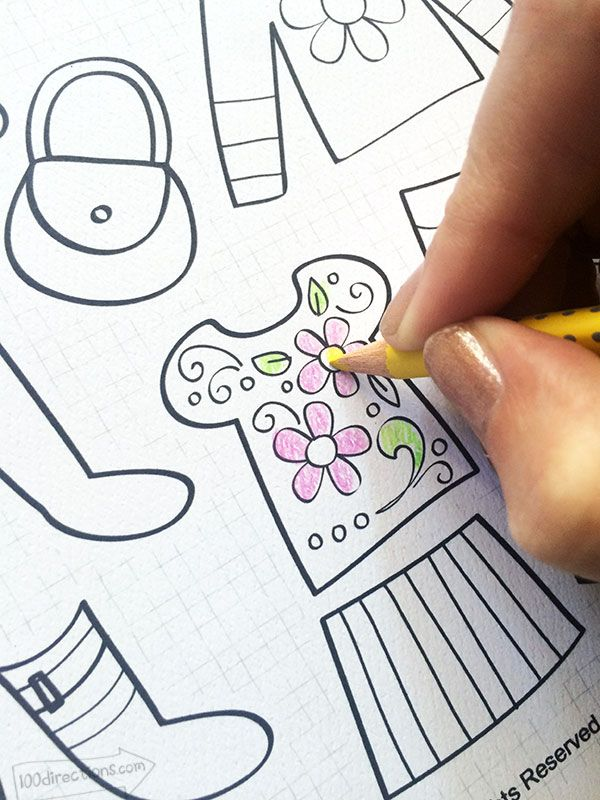 coloring a printable paper doll