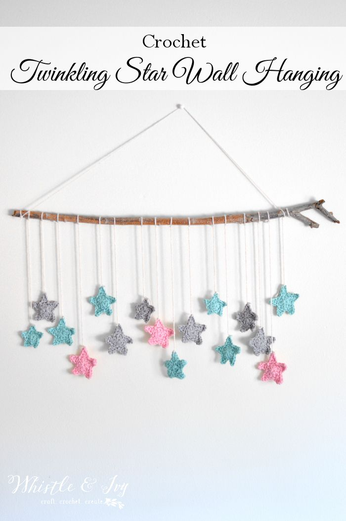 Twinkling Stars Crochet Wall Hanging - Make this pretty and simple wall hanging, perfect for a baby's room. This wall hanging is an awesome weekend project!