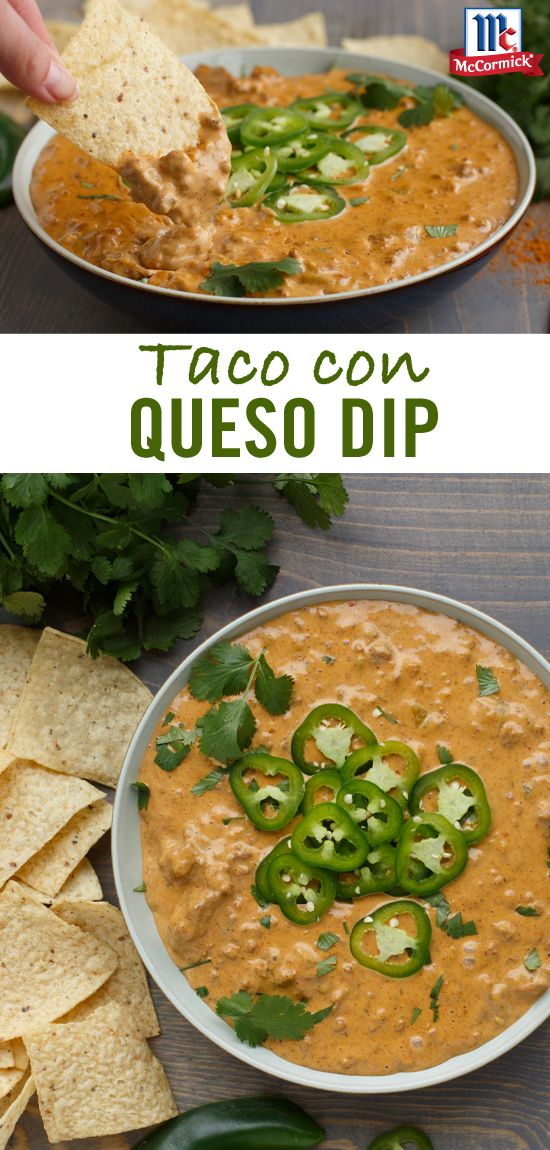 5-ingredient Taco con Queso recipe comes together thanks to Taco Seasoning Mix. You'll love the spicy, taco taste it adds to this creamy, cheesy party dip. Garnish with cilantro and jalapeños and serve with tortilla chip for the perfect Cinco de Mayo party recipe.