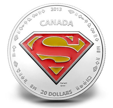 1 oz $20 Fine Silver Coin - Superman™'s S-shield - Mintage: 10,000 (2013)