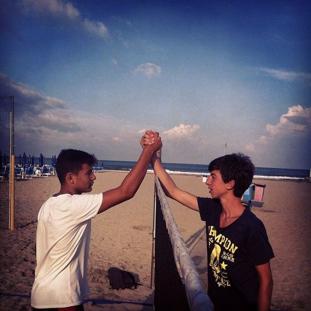 #summer #beach #tennis #respect #friends #rivals