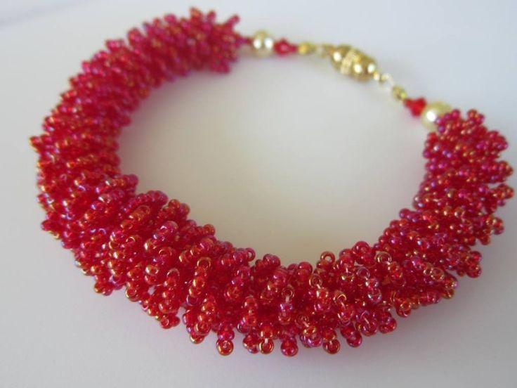Beaded Fur Bracelet   DIY.  Materials:  11/0 seed beads, 2 4mm bicones, 2 6mm pearls, magnetic clasp, fireline