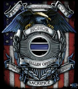 This End of Watch Memorial Shirt Poster is an example of the LEO detail found with each of our law enforcement, police shirts, sheriff shirt and K-9 posters, uniquely designed by 10-4Gear.com.