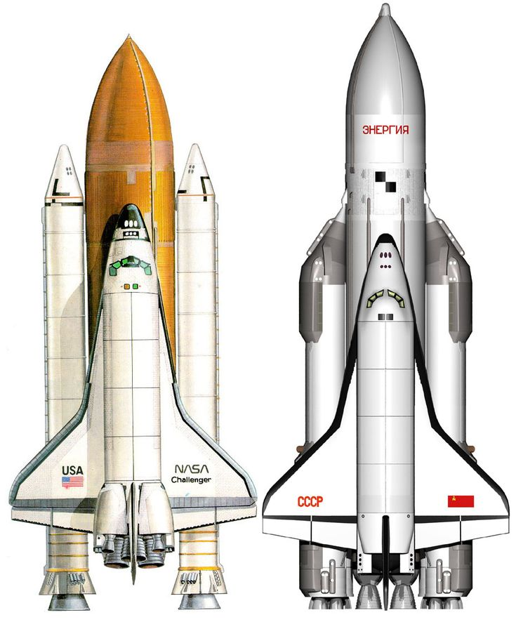 The American Space Shuttle and the Soviet Buran.