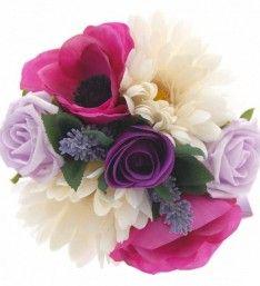 Mixed Pink, Purple & Ivory Silk Childrens Wedding Posy