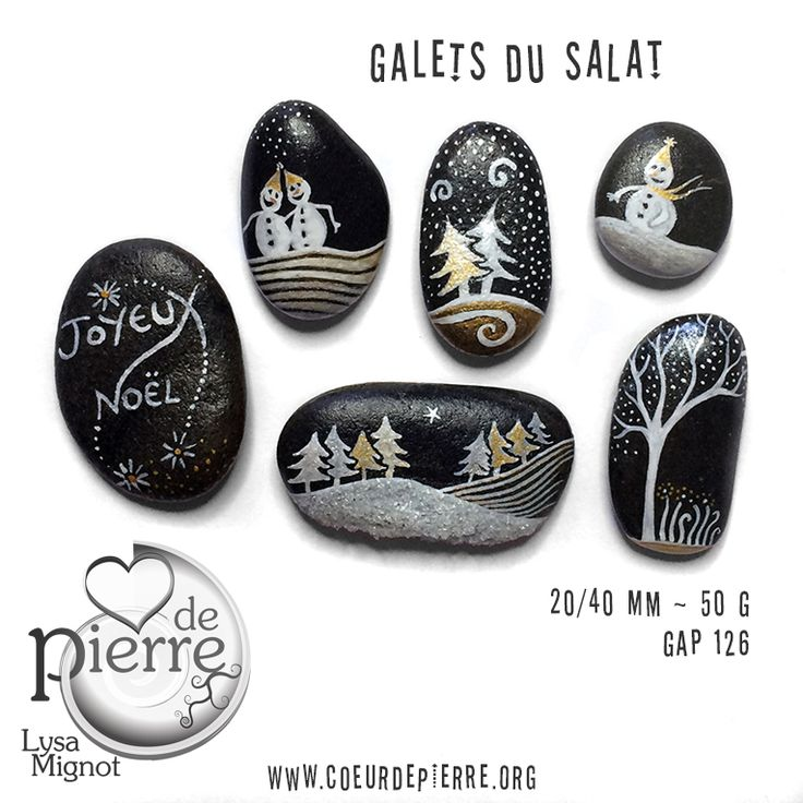 Galets peints Salat et Garonne - Noël & fêtes - www.coeurdepierre.org