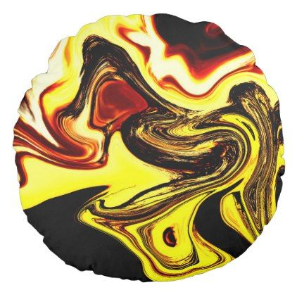Funky Sunset Yellow Round Cushion - home gifts ideas decor special unique custom individual customized individualized