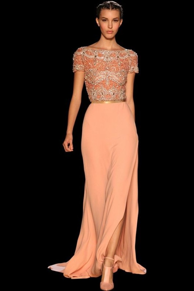 Peach dress love the detail