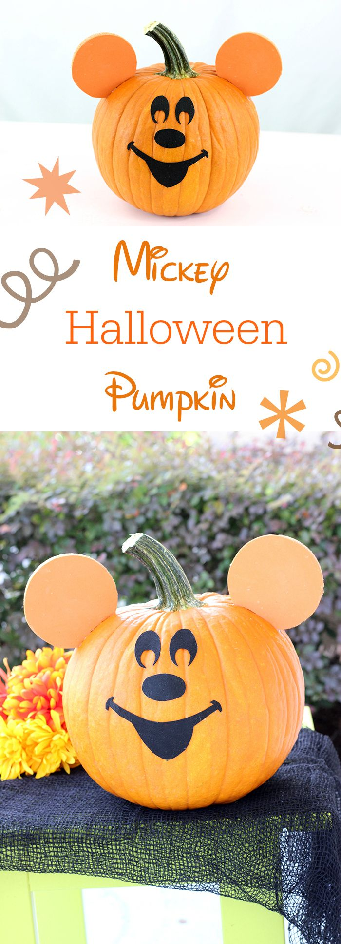 Mickey Halloween Pumpkin. Super easy DIY comes together so easily for Mickey Mouse and Disney fans.