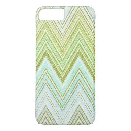 Luxury mint green faux gold chevron zigzag glitter iPhone 8 plus/7 plus case - glitter glamour brilliance sparkle design idea diy elegant