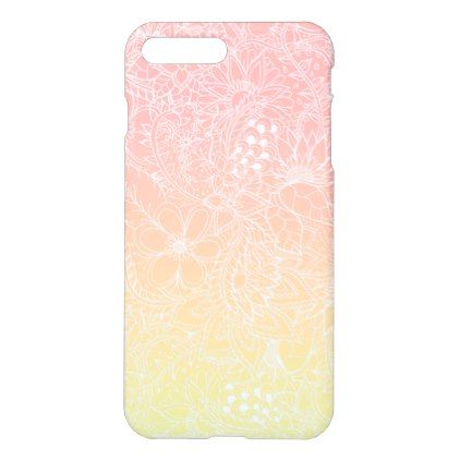 Fruity pink lemon yellow gradient floral pattern iPhone 8 plus/7 plus case - girly gift gifts ideas cyo diy special unique