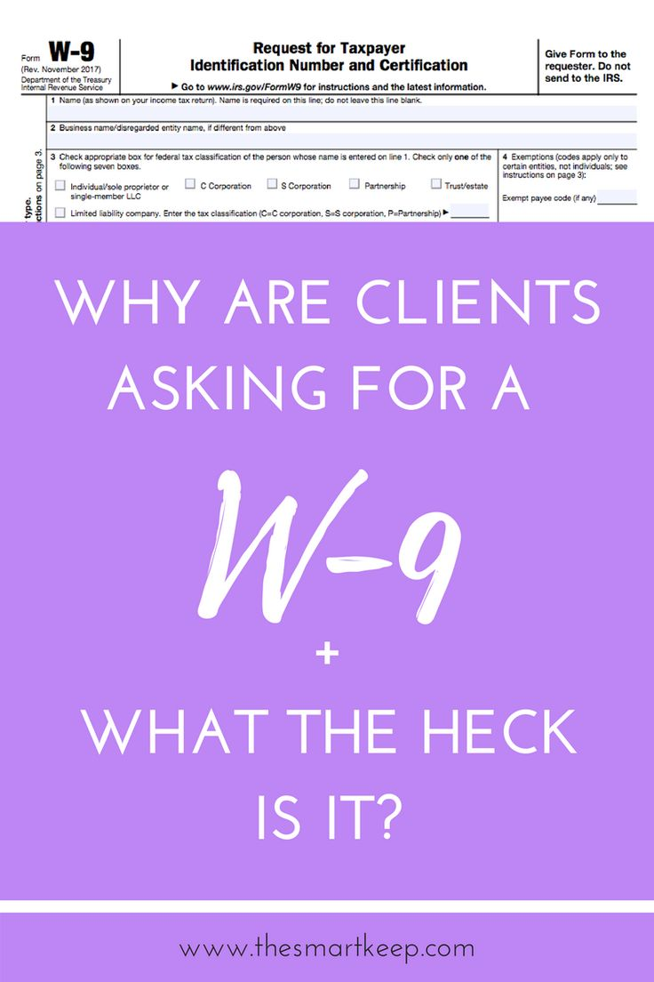 What is a W-9? A W-9 is a form from the IRS that let's people know what type of business you have (sole proprietor, LLC, S Corp, C Corp, etc) and other important info like your business name, address, and EIN (Employer Identification Number).