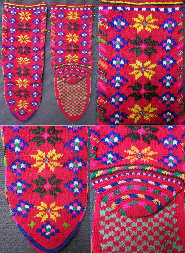 Traditional women's socks from the Pomak villages near Biga (Çanakkale province).  Hand-knitted, wool and lurex thread, ca. 1975.  With a 'pumpkin flower' pattern.  (Inv.nr. çor151 - Kavak Costume Collection-Antwerpen/Belgium).