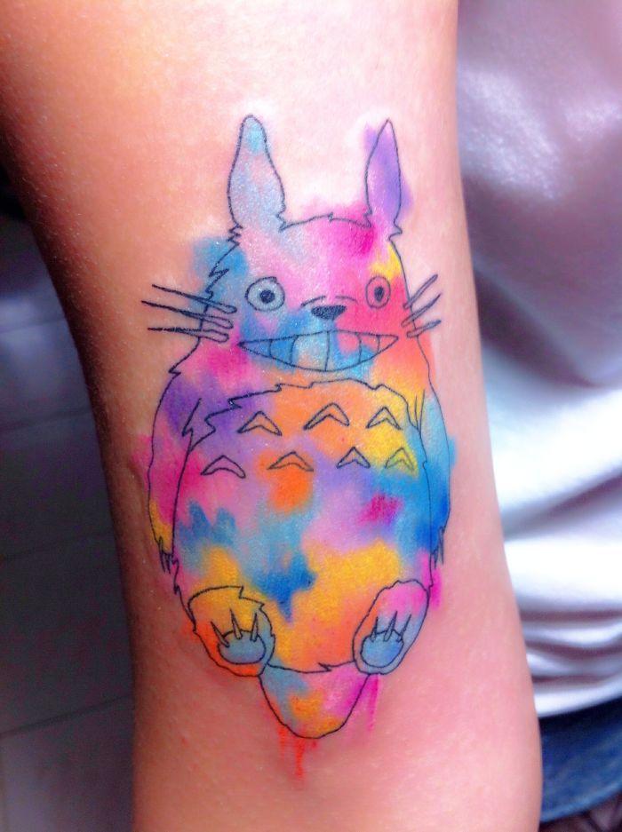 My Watercolor Effect Totoro Tattoo | Bored Panda