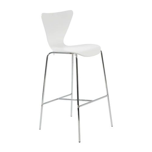 Tendy White Bar Chair, Set Of Two Eurostyle Bar Height (28 To 36 Inch) Bar Stools Kitchen