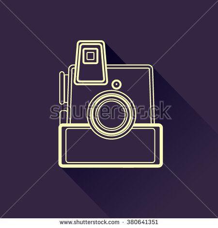 Line art vintage camera icon. Vector illustration - stock vector