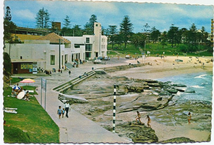 Postcard of South Cronulla Beach including 'The Pole' in the 1970's