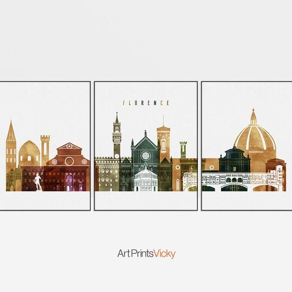 Florence 3 Set Of Wall Art Florence Italy 3 Set Of Prints Etsy In 2020 Wall Art City Wall Art World Map Wall Art