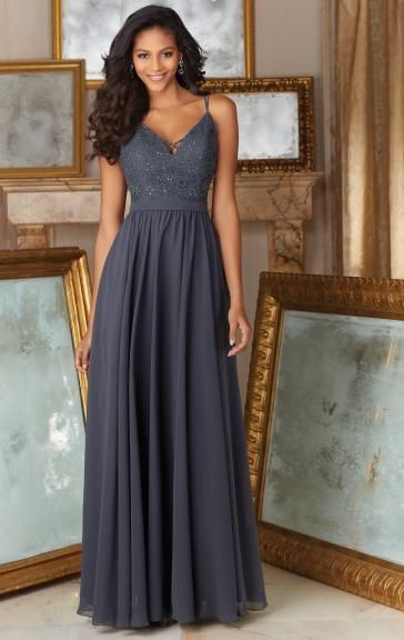 Modest Grey Long Bridesmaid Dress BNNDE0009-Bridesmaid UK