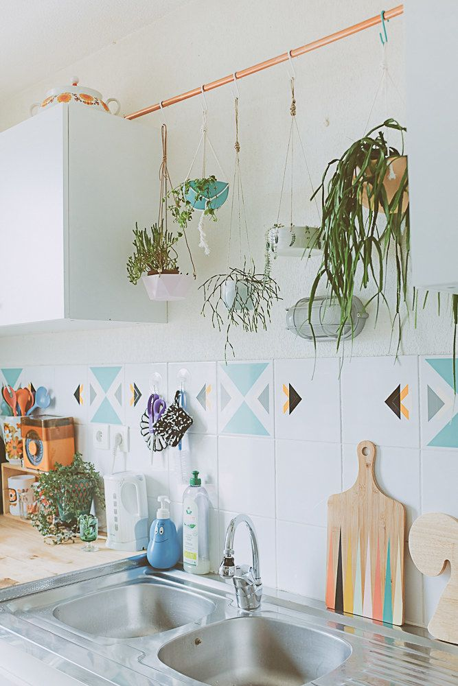 Suspend A Rod Across Your Cabinets So You Can Hang Plants Without Drilling Holes In The Ceiling