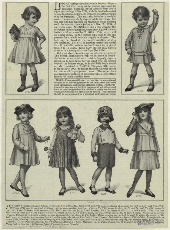 Children's fashion from 1900s or 1910s: This was a time of transition in children's clothing as styles moved from impractical to more practical.