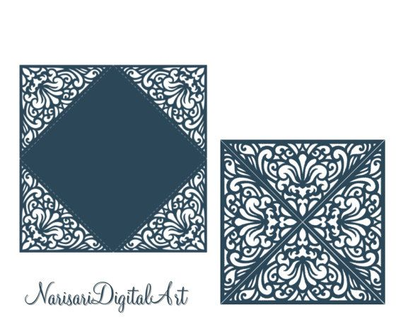 Laser cut card pattern Wedding Invitation by NarisariDigitalArt