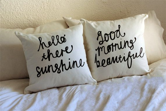 Hello There Sunshine & Good Morning Beautiful His and Hers Pillow Cover set 18 x 18 inch