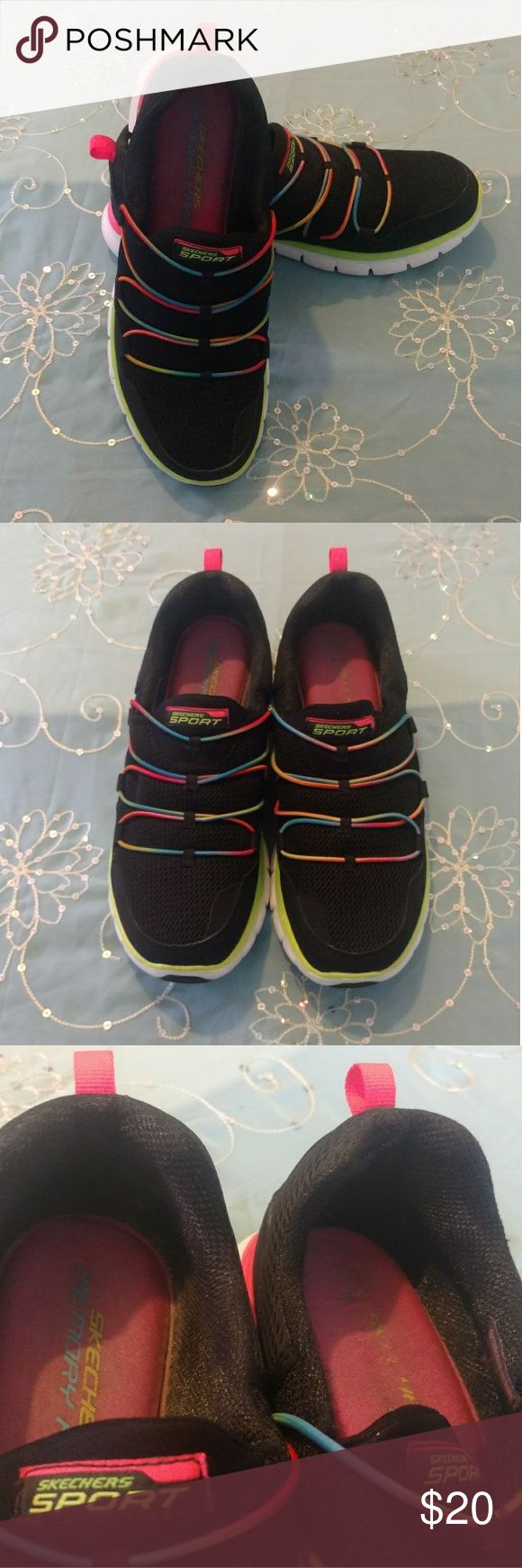 Skechers Sport Loving Life Memory Foam Sneakers Preloved Skechers Sport Loving Life Memory Foam Fashion Sneakers in black and multi. Size 9. Super comfortable, slip on sneakers. There is some fading of the inside logo, and discoloration as shown. Skechers Shoes Sneakers