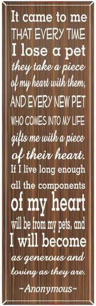 Pet lovers will purr over this uplifting quote sign for home décor. Click to view this elegant wall art and pay tribute to your best friend.