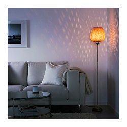 IKEA - BÖJA, Floor lamp with LED bulb, Gives a soft glowing light, that gives your home a warm and welcoming atmosphere.Shade of braided bamboo creates decorative light patterns on the wall.Each handmade natural fiber shade is unique.