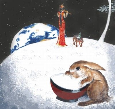 The mythological hare making the elixir of immortality on the Moon, from Chinese mythology.