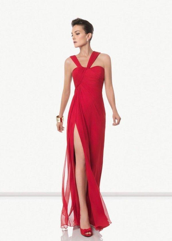 Rosa Clará Vestidos de Fiesta 2012 Vestido rojo con abertura en la falda
