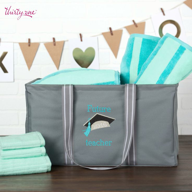 Graduation Gifts for the graduate. Great idea to fill a Thirty-One Large Utility Tote full of dorm necessities www.EscapeClutter.com