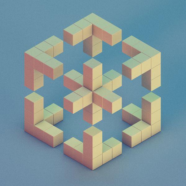 '30 isometric renders in 30 days' Round 1 by Michiel van den Berg, via Behance