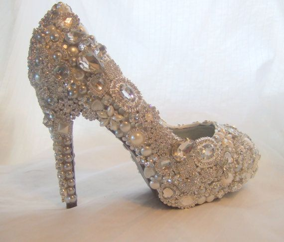 Cinderellas Wish... crystal, glass and pearl covered high heels. $575