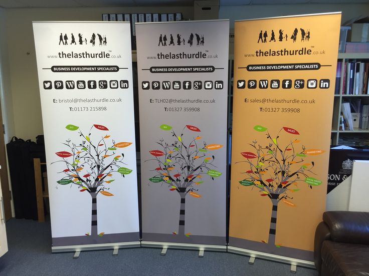 3 roller banners printed in full colour