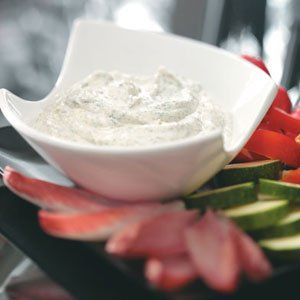 """Quick Creamy Dill Dip Recipe -Beau Monde seasoning is the secret ingredient that adds a little special zing to this low-fat, classic dill dip. Says Corky: """"I usually double the recipe since it only gets better after a few days in the fridge."""" Corky Huffsmith - Indio, California"""