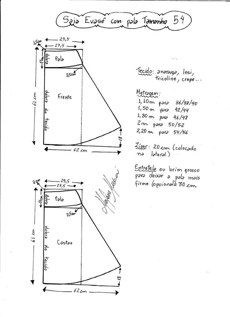 Esquema de modelagem de Saia Evasê com Pala tamanho 54.
