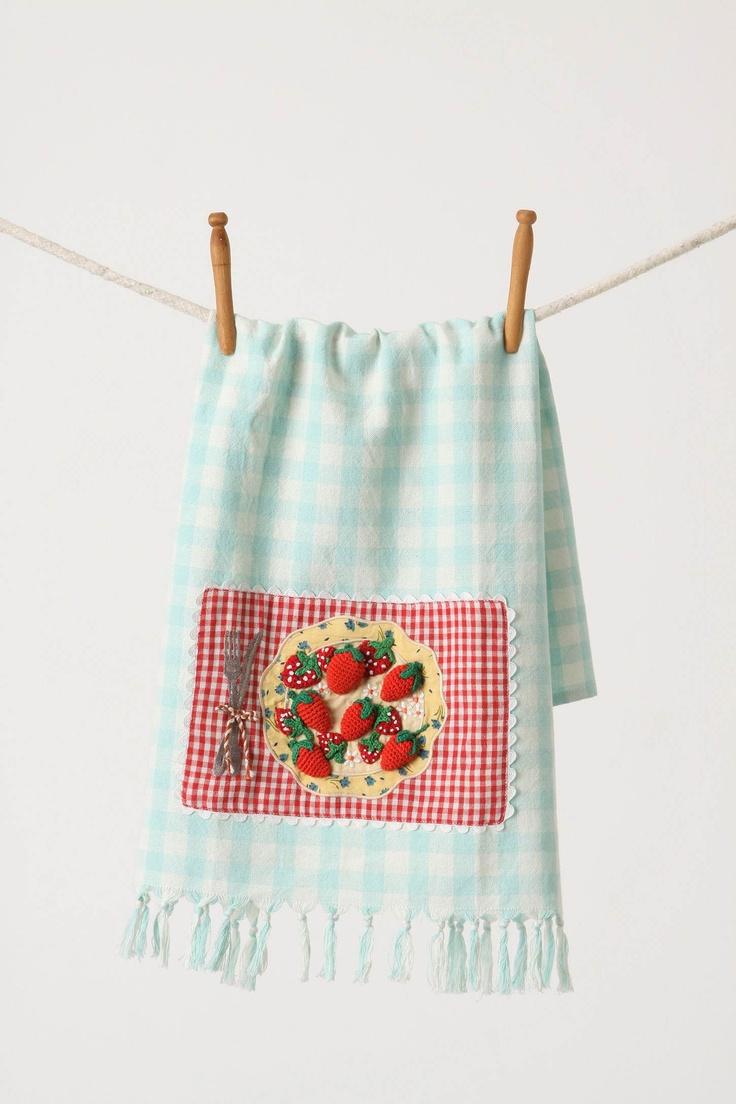 First Eats Dishtowel, Strawberries & Blooms - Anthropologie.com